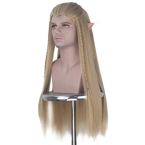Men Unisex Braids Prestyled Straight Hair Long Halloween Costume Cosplay Party Full Wigs Ash Blonde