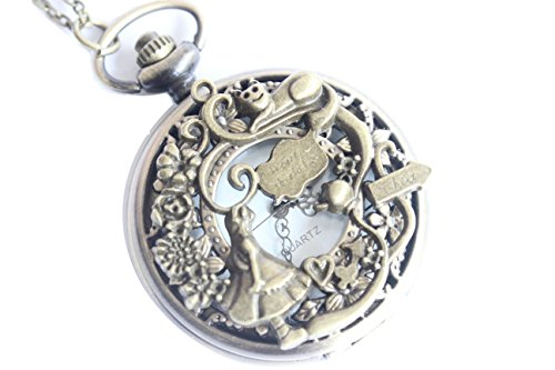 Ancient Brass Alice in Wonderland Pocket Watch Pendant Necklace with Charm Chain Jewelry from Unknown