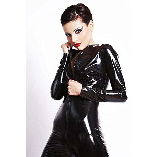 Top Totty reizvolle schwarze PVC Clubwear Catsuit mit Kapuze