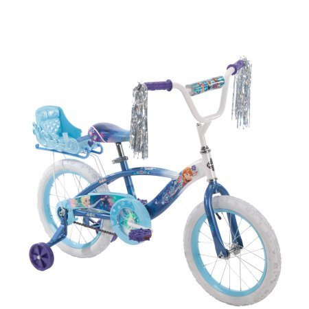 Huffy 16 Inches Girls 'Frozen' Bike with Doll Carrier Sleigh (Doll not Included) , Blue, With Training Wheels, Adjustable Seat, Durable by Huffy