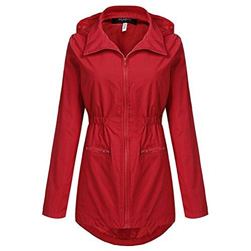 Unbrand Rosso Antipioggia 2 Giacca Trench Con Da Outdoor Donna Active Impermeabili Cappuccio OvpwrqxOt