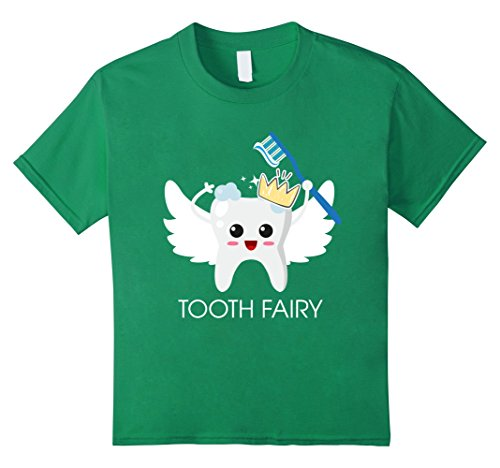 Cute Tooth Fairy Costume Ideas (Kids Tooth Fairy Magic Wand T-shirt, Funny Magical Dental Gift 4 Kelly Green)
