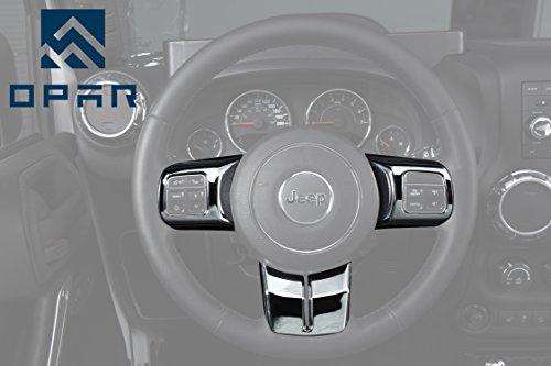 Opar Silver Steering Wheel Cover Trim for 2011 - 2018 Jeep JK Wrangler & Unlimited & Compass & Patriot - 3PCS/Set