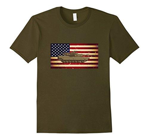 Mens M1 Abrams Tank and American Flag Veterans T-Shirt Large (American Tanker)