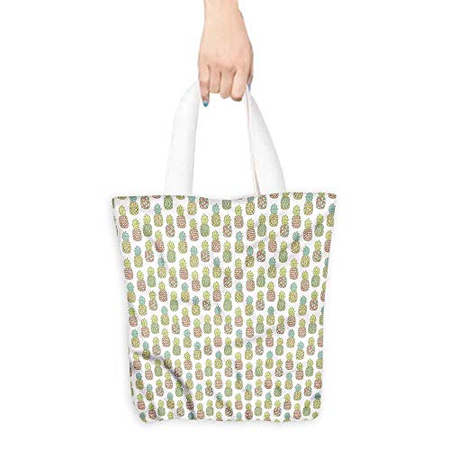 - Reusable Shopping Grocery Bags,Pineapple Pastel Tropical Fruit,Fits in Pocket Waterproof & Lightweight,16.5