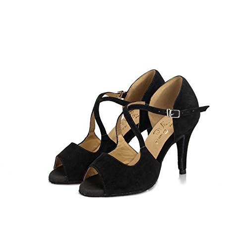 Minitoo Dance Latin Taogo Leather Wedding Heel Stiletto Sandals Black TH050 Ballroom Suede High Ladies U4pPwcqzUr