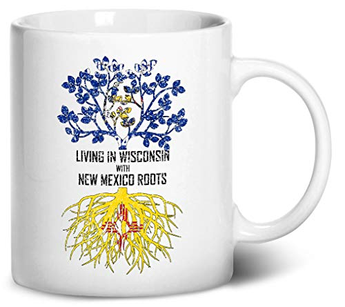 Tenacitee Living In Wisconsin with New Mexico Roots Coffee Mug, 11oz, White