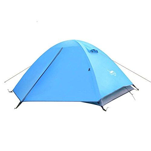 なぜなら乳白からかう2人キャンプテント4シーズンダブルレインプロテクションバックパッキングテントは屋外スポーツのために組み立てる必要があります ( 色 : 青 )