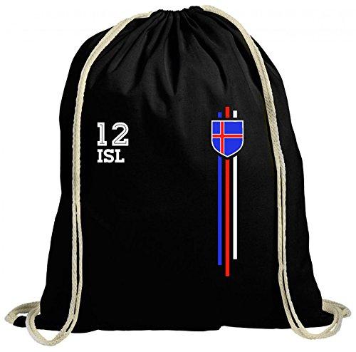 ShirtStreet Iceland Soccer World Cup Fussball WM Fanfest Gruppen natur Turnbeutel Rucksack Gymsac Streifen Trikot Island Schwarz