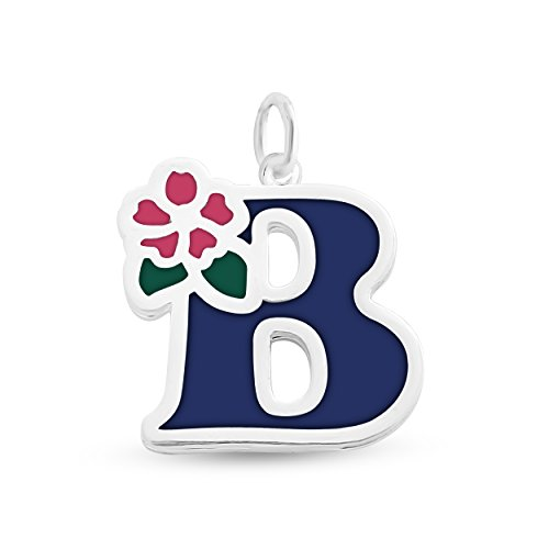 er or 14K Gold Plated Silver Colored Initial Letter B with Flower Pendant (Blue) (Sterling Flower Silver Leaf Pendant)