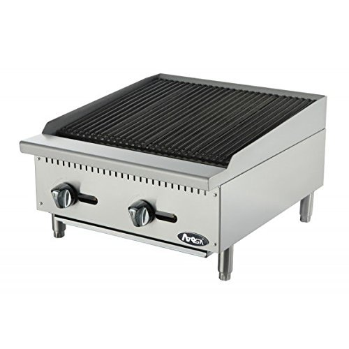 Atosa USA ATCB-24 Heavy Duty Stainless Steel 24-Inch Char-Rock Broiler - Natural Gas Char Rock Broiler