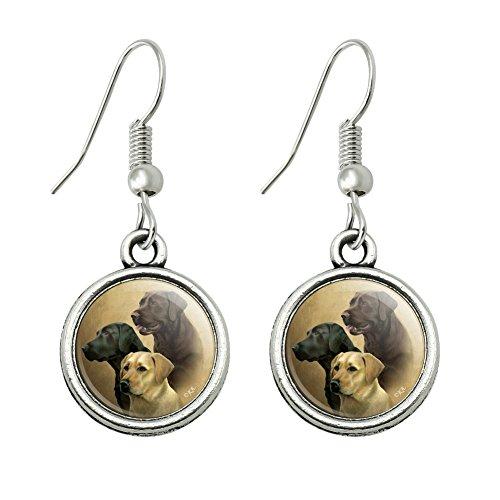 (GRAPHICS & MORE Labrador Retriever Trio Dogs Portrait Novelty Dangling Drop Charm Earrings)