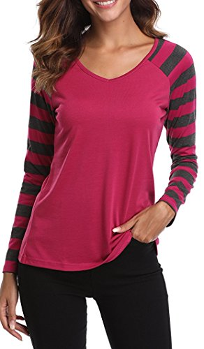 Sleeve Striped V-neck Top - MISS MOLY Women's Long Raglan Sleeves V Neck Striped T-shirt Tops (Red,XL)