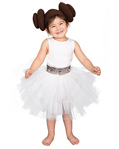Coskidz Child's Princess Leia Tutu Costume Halloween Outfits (White) -