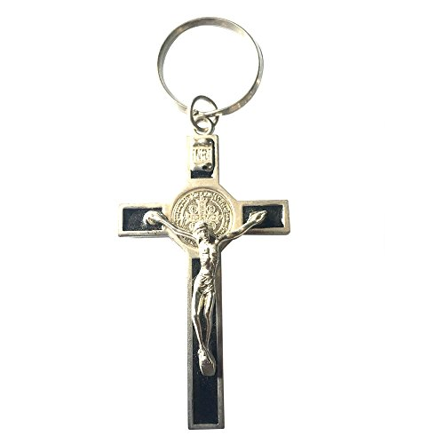 Benedictine Crucifix Stainless Steel and Porcelain Enamel Keychain Keyring Zipper Pull with Lobster Clasp Three Colors (black) - Porcelain Lobster