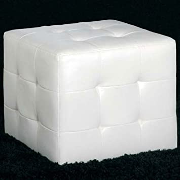 cube white faux leather pouffe footstool stool chair amazon co uk