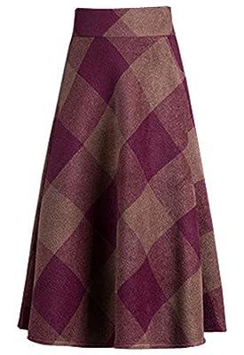 Flygo Women's Vintage Pleated High Waist Wool Plaid Swing A-Line Knee Length Skirt