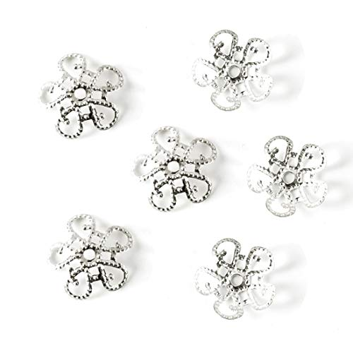 (200pcs Top Quality Flower Filigree 10mm Bead Caps Sterling silver Plated Brass Metal for Jewelry Craft Making CF47)
