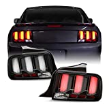 Fits 2005-2009 Ford Mustang LED [White Tube] Black Tail Lamp Brake Lights w/Sequential Signal Pair Left + Right