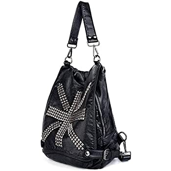 UTO Women Backpack Union Jack UK Flag Rivet Studded PU Washed Leather Purse  Convertible Ladies Rucksack Shoulder Bag Black 6bacb62e68b17