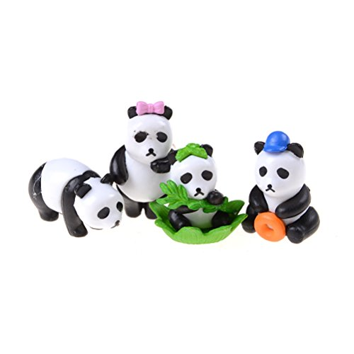 4 Pcs Miniature Cute Pandas Fairy Garden Figurine Bonsai Craft Ornament By DINGJIN