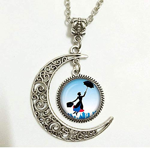 Crescent Moon Art Pendant,Mary Poppins Necklace, Jewelry,Birthday Gift for $<!--$3.89-->