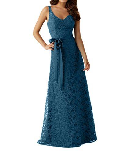 Traeger Spitze Dunkel Lang Abendkleider Zwei Damen Brautmutterkleider Festlichkleider Charmant Brautjungfernkleider Blau Blau qROapgt