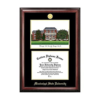 Campus Images Sports Team Logo Design Mississippi State Gold Embossed Diploma Frame with Campus Images Lithograph