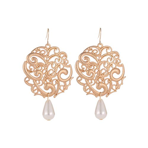 Myhouse Vintage Palace Hollow Carved Flower Earring Water Drop Pearl Geometry Exaggerated Jewelry for Women Ethnic Earrings,Gold