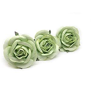 """2"""" Green Paper Flowers Paper Rose Artificial Flowers Fake Flowers Artificial Roses Paper Craft Flowers Paper Rose Flower Mulberry Paper Flowers 10 Pieces 1"""
