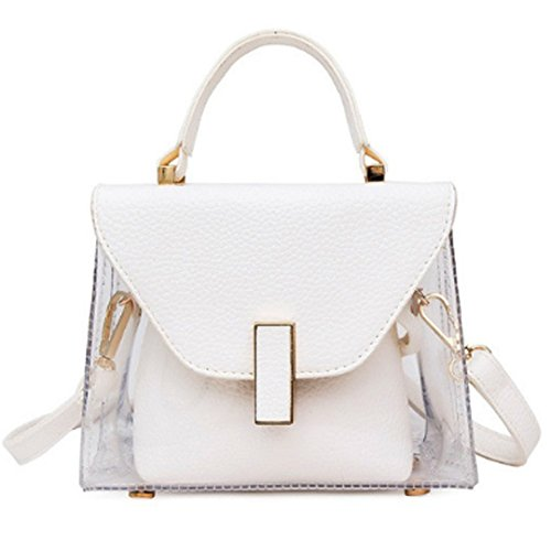 Mily Summer Jelly Clear Handbag 2 in 1 Tote Transparent Shoulder Bag (white)