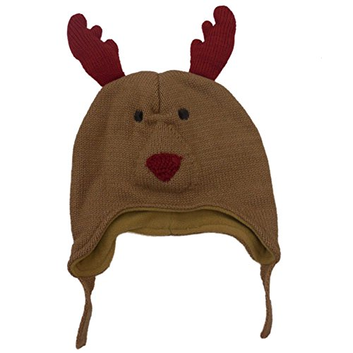 CP Infant Boys & Girls Brown Knit Reindeer Peruvian Trapper Hat Fleece Lined