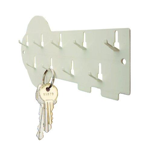 STEELMASTER 9-Hook Decorative Key Rack, 8 x 3 Inches, Putty - Rack Warehouse.com