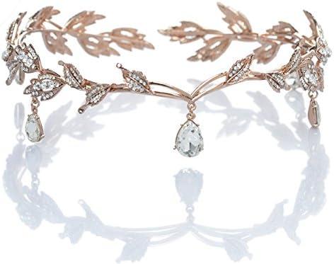 Remedios eleganten Strass Blatt Hochzeit Tiara Kronen Stirnband Braut Tiara Kopfschmuck