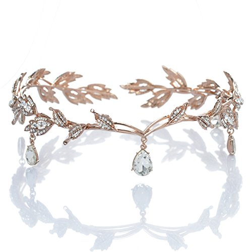 Remedios Rhinestone Leaf Wedding Tiara Headband for Brides, Rose Gold Crown Headband for Pageants Wedding Prom Birthday]()