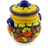 Polish Pottery Jar with Lid and Handles 9-inch UNIKAT