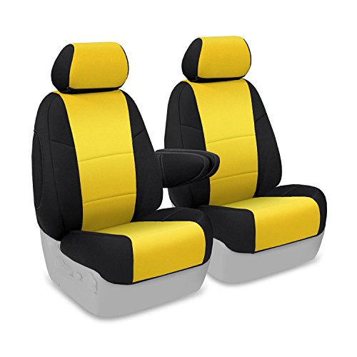Coverking Custom Fit Front 50/50 Bucket Seat Cover for Select Lincoln Town Car Models - Neoprene (Yellow with Black Sides) ()