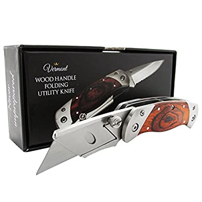 Folding Utility Knife - Dual Blade Box Cutter - Wood Body Razor Knives. Perfect Gift Idea.