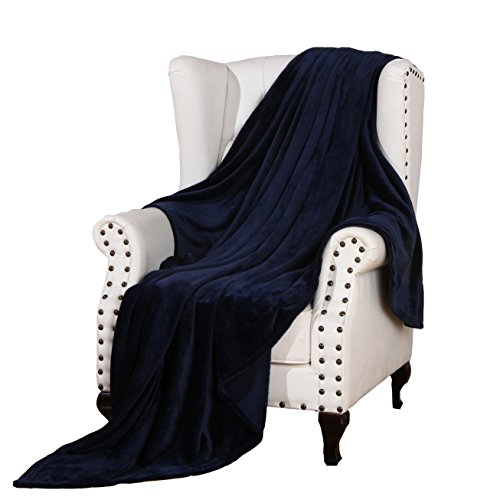 Flannel Bed Blanket Luxury Navy Blue Queen Size 90x90 Inches Lightweight Plush Microfiber Fleece All Season Super Soft Cozy Blanket for Bed Couch and Birthday Gift Blankets by Snuz