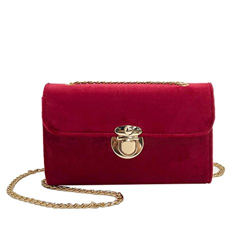 Gotd Womens Girls Gold Velvet Handbag Chain Strap Crossbody Shoulder Bag Tassel Messenger Messenger Tote on sale Clearance travel kids Coin Phone Wristlets Satchels (Red)