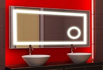 Badspiegel mit LED Beleuchtung und Kosmetikspiegel, 100x60 cm ...