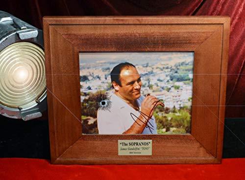 SOPRANOS PROP Glass Signed James Gandolfini AUTOGRAPH, Frame, ALL 86 episodes BLU RAY DVDs, COA, UACC