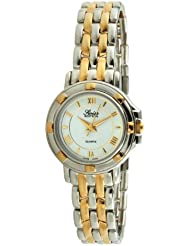 Swiss Edition Womens Two Tone Silver & 23K Gold Plated Luxury Roman Numeral White Dial Dress Watch