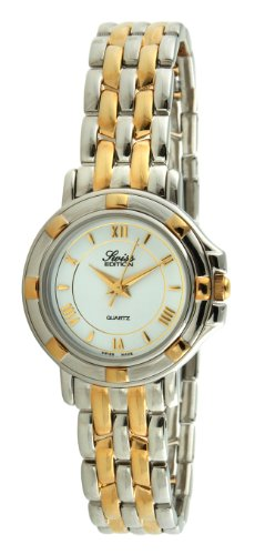 Swiss Edition Women's Luxury Bracelet Watch with Two Tone Gold Plated Sport Bezel, White Dial and Swiss Made Analog Quartz Movement ()