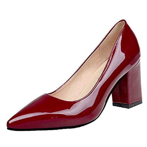 zahuihuiM Automne Bottes Couleur Bout Mode Rouge Douces Sabot Pointu Talons Chaussures Femmes Solide Vin grtZqgA