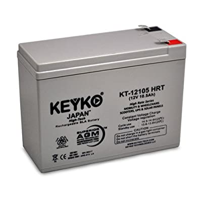 12V 10.5Ah Deep Cycle AGM / SLA Battery for Wheelchairs Scooters Mobility UPS & Solar - Genuine KEYKO - F2 Terminal