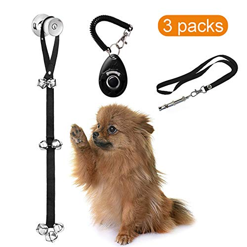 iBesi Dog Door Bells for Potty Training, Adjustable Dog Whistle to Stop Barking, Free Dog Training Clicker with Wrist Strap for House-Training Dog Training Set 3 Pcs