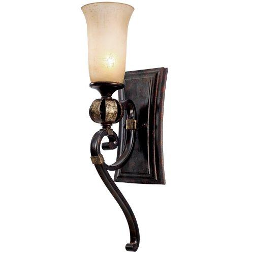 (Golden Lighting 3966-BA1 FB Portland One Light Wall Sconce, Fired Bronze Finish)