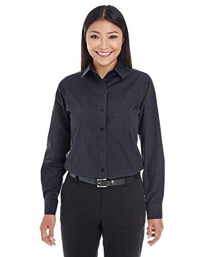 (Ladies Crown Collection Striped Shirt - BLACK/ GRAPHITE - S)