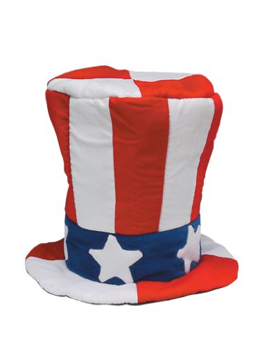Jacobson Hat Company Men's Velvet Top Hat with US Flag Pattern, Multi, One Size